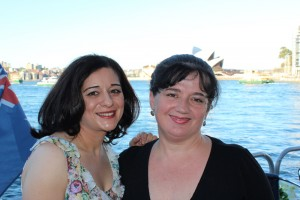 Jane Hart with wedding vocalist Georgina Macdessi on Sydney Habour