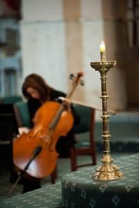 Cello at church wedding ceremony.